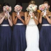 Blue bridesmaids and bride